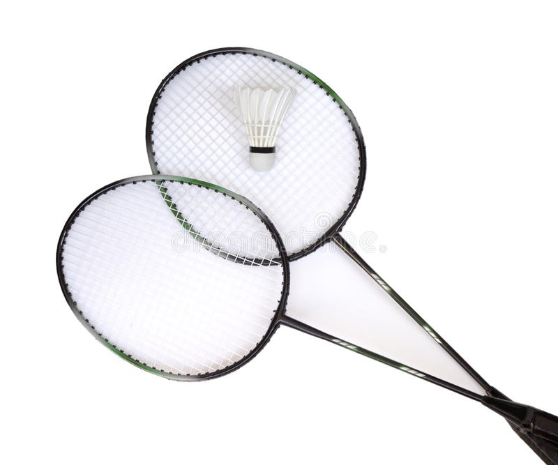 Duas raquetes de badminton com shuttlecock branco fotografia de stock