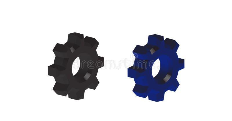 Duas rodas denteadas das engrenagens 3d ilustração royalty free