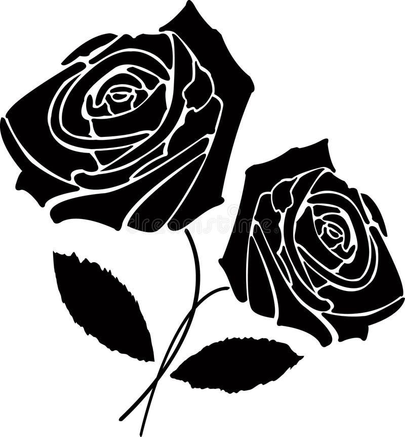 Duas rosas pretas ilustração royalty free