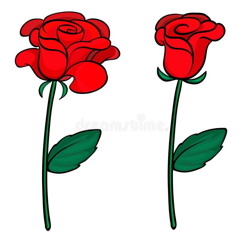Duas rosas vermelhas ilustração do vetor