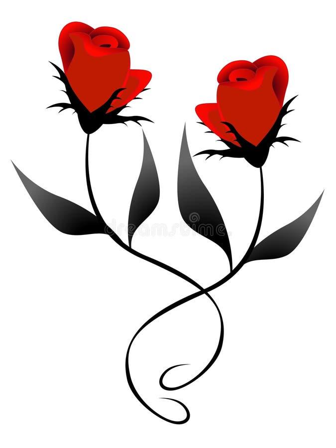 Duas rosas vermelhas, elemento do projeto ilustração royalty free