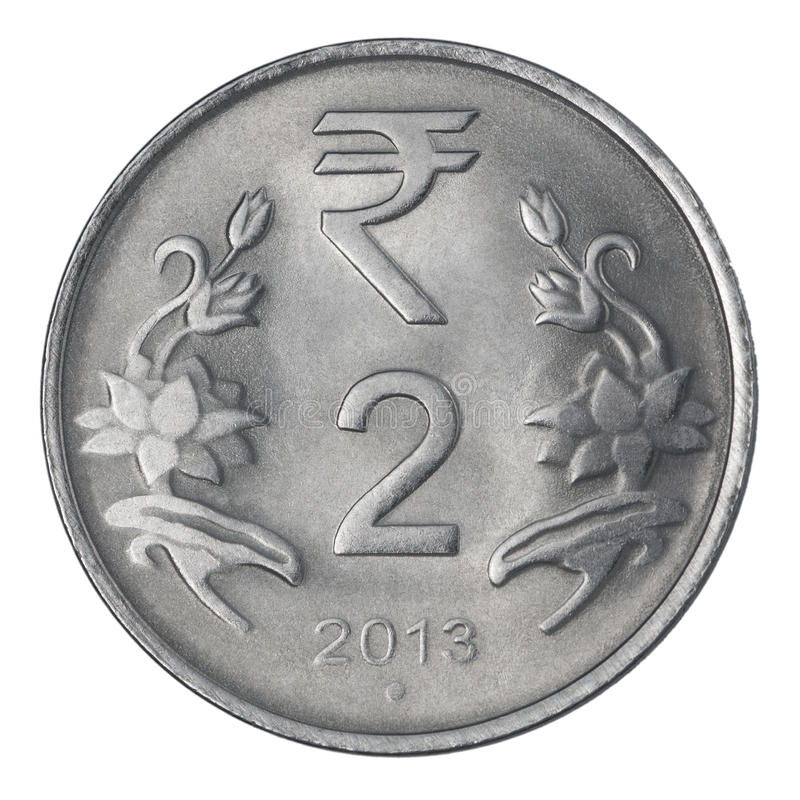 Duas rupias indianas foto de stock