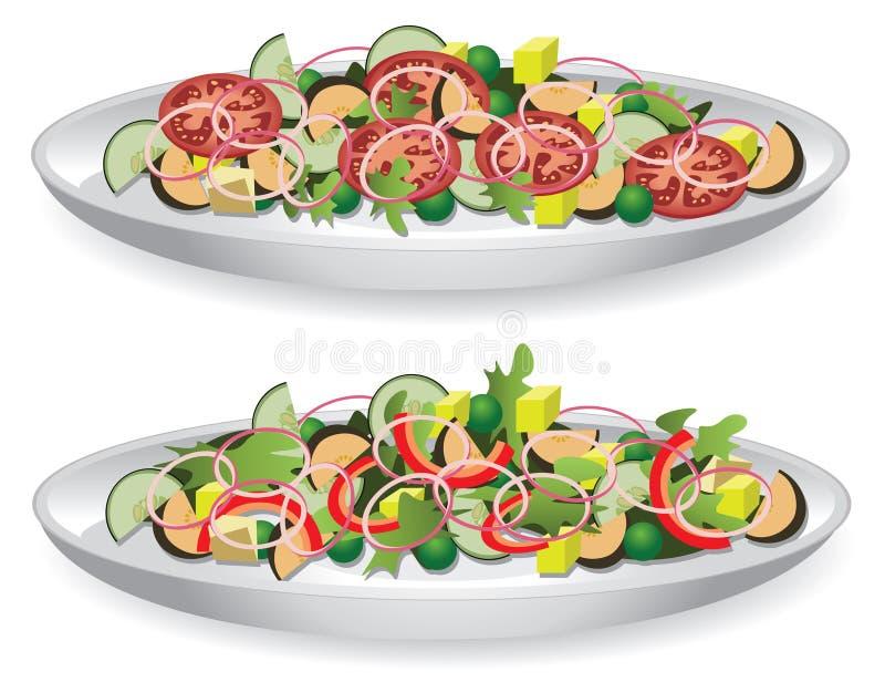 Duas saladas ilustração do vetor