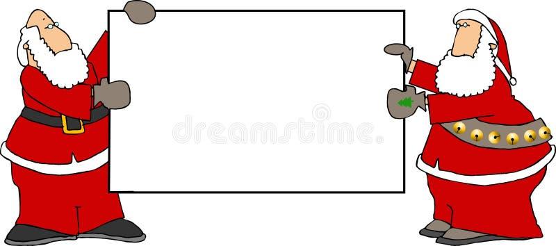 Duas Santa que prendem um sinal em branco ilustração stock