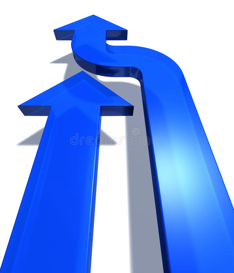 Duas setas azuis ilustração stock