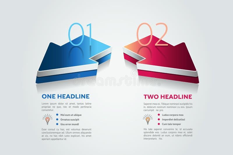 Duas setas 2 etapas diagram, elementos, cartas, infographics ilustração royalty free