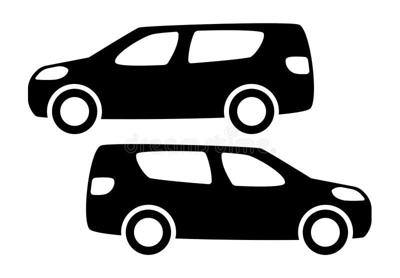 Duas silhuetas pretas do carro em um fundo branco ilustração stock