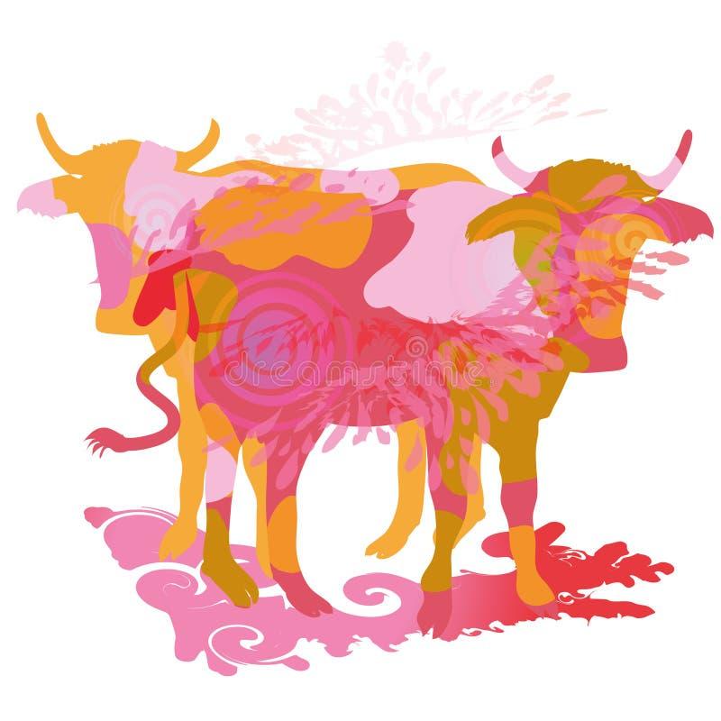 Duas vacas ilustração do vetor