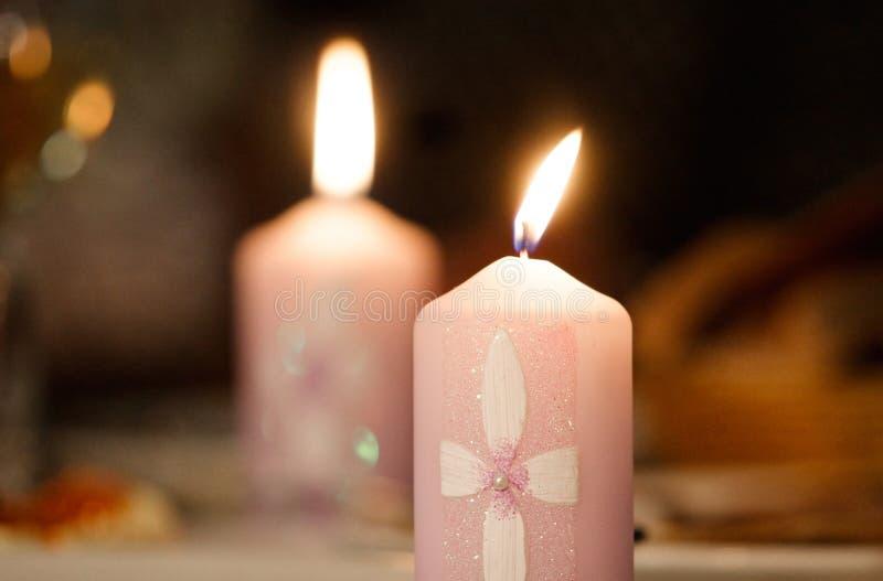 Duas velas imagem de stock