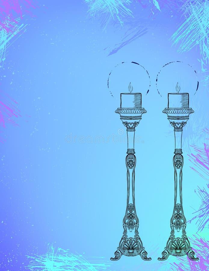 Duas velas altamente decorativas na aquarela. ilustração stock
