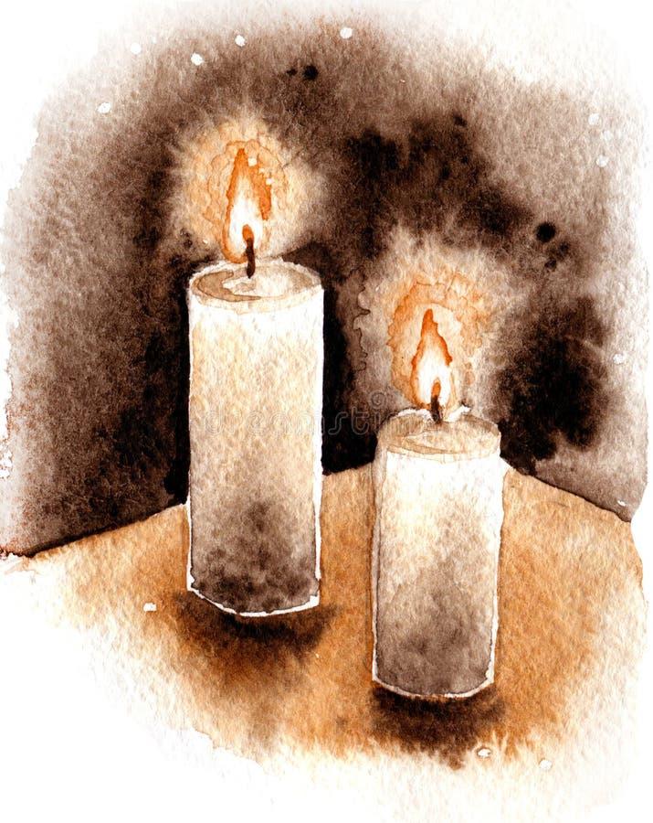 Duas velas ardentes de esboço ilustração royalty free