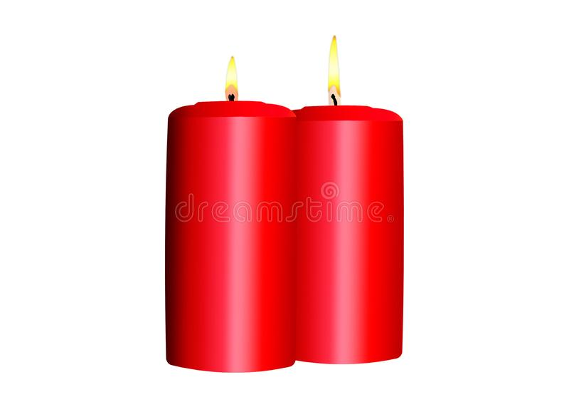 Duas velas vermelhas de queimadura em um fundo branco ilustração stock