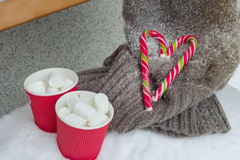 Duas xícaras de café com marshmallow, dois bastões de doces do Natal - coração, camiseta feita malha no banco da neve imagem de stock royalty free