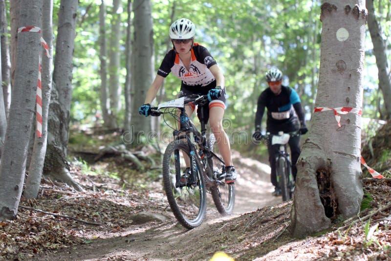Duathlon - jechać na rowerze scena pościg fotografia royalty free