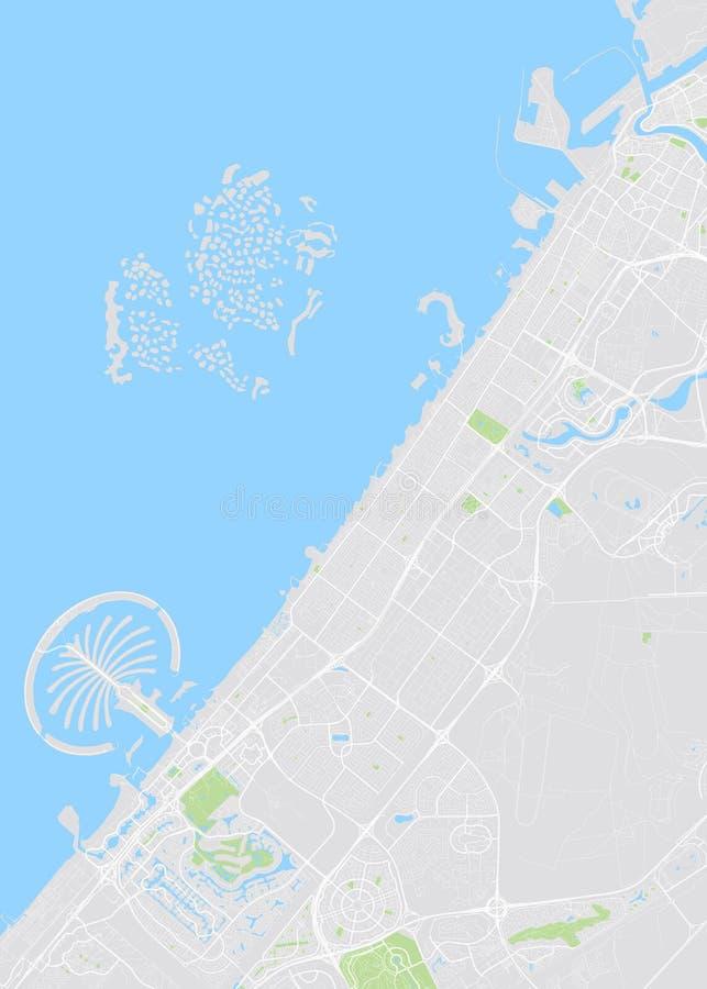 Dubaï a coloré la carte de vecteur illustration stock