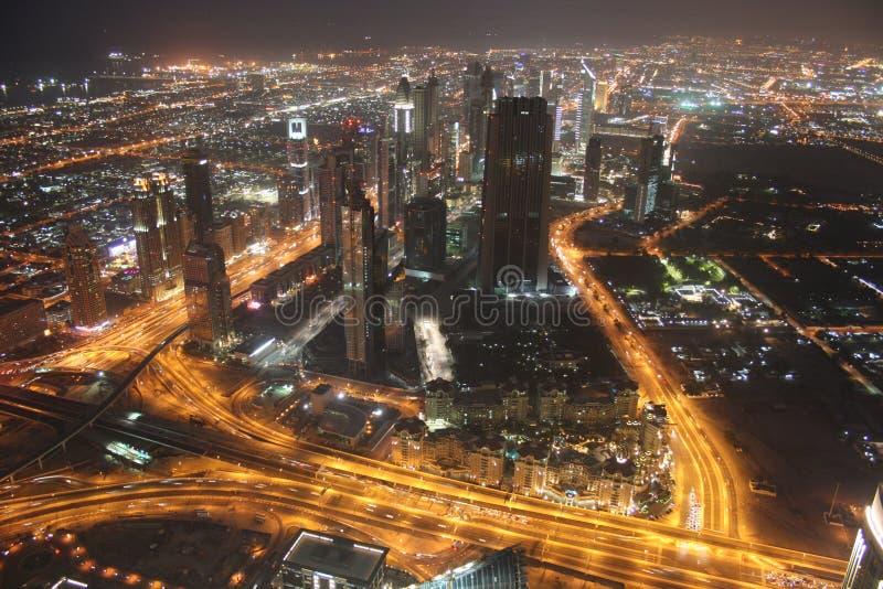 Dubaï - horizon de nuit photographie stock libre de droits