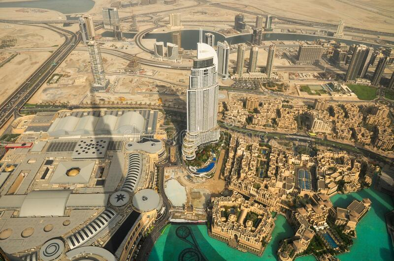 Emaar building and downtown, View from Burj Khalifa, Dubai, United Arab Emirates, Middle East. Business corporate Emaar aerial view and the surround downtown stock photo