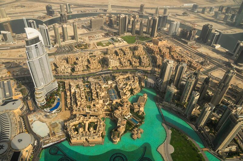 Emaar building and downtown, View from Burj Khalifa, Dubai, United Arab Emirates, Middle East. Business corporate Emaar aerial view and the surround downtown royalty free stock photo