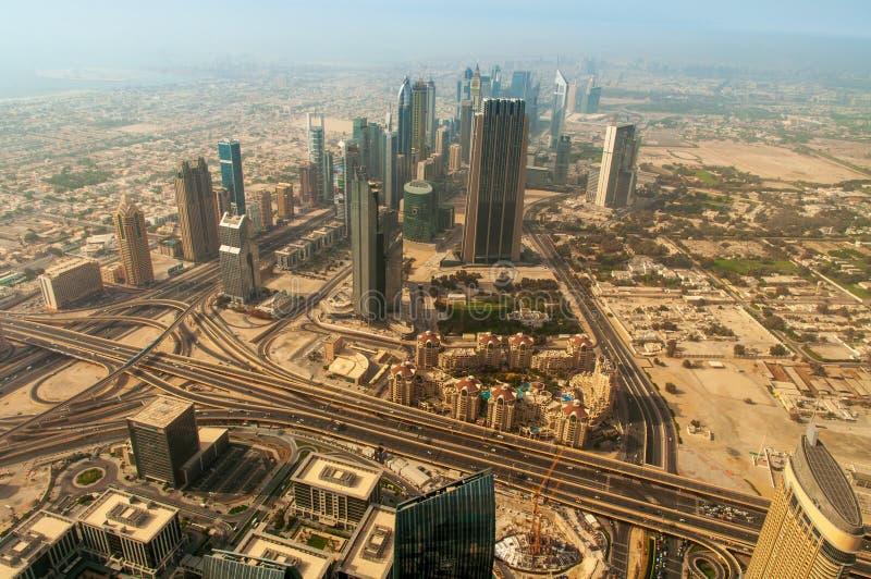 Aerial view of Dubai, United Arab Emirates, Middle East. Aerial view of the Dubai skyline landmark, United Arab Emirates, Middle East royalty free stock photo