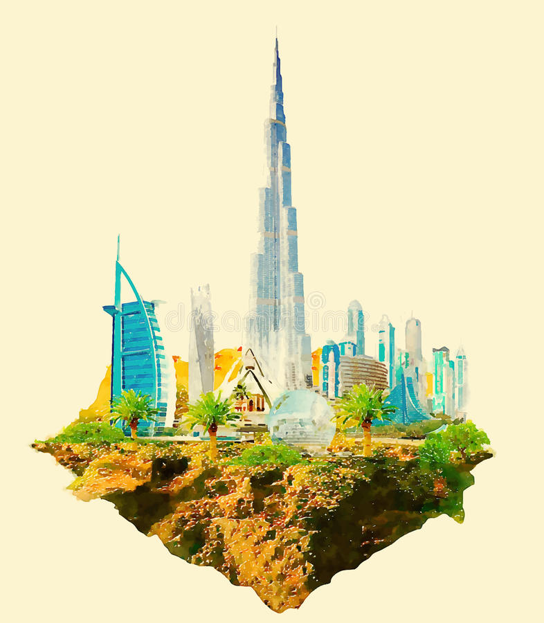 dubai illustration stock