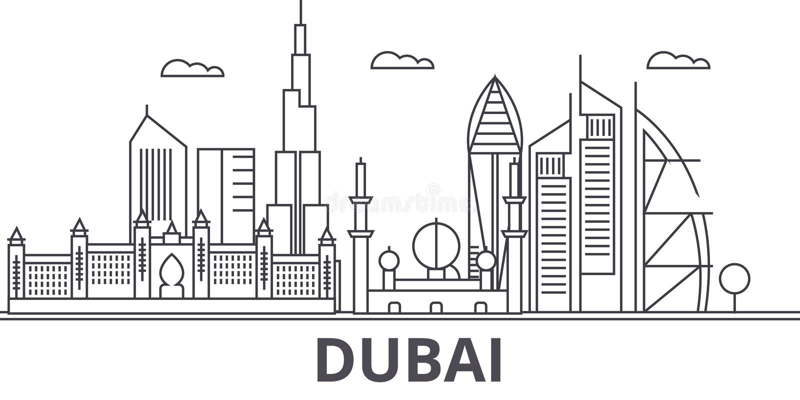 Dubai architecture line skyline illustration. Linear vector cityscape with famous landmarks, city sights, design icons. Editable strokes vector illustration