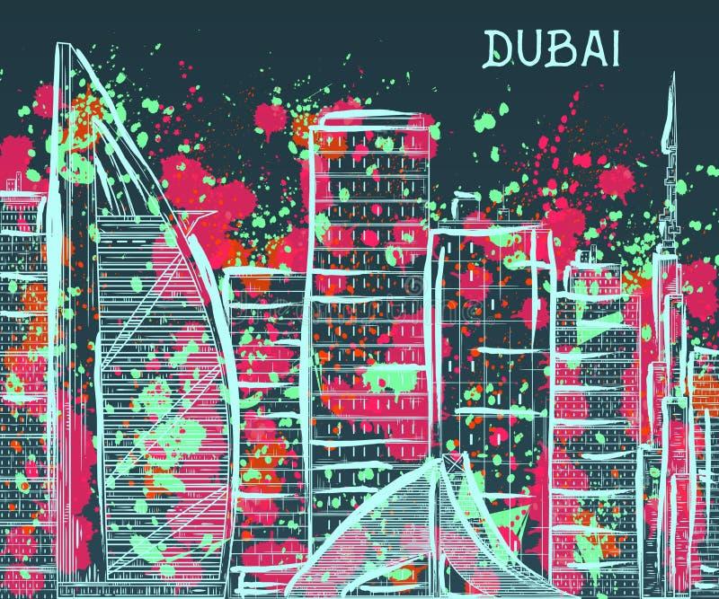 dubai A arquitetura da cidade abstrata com espirra no estilo da aquarela ilustração royalty free