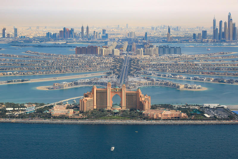 Dubai Atlantis Hotel The Palm Jumeirah Island aerial view photography. UAE royalty free stock image