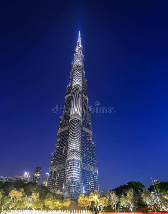 Dubai Burj Khalifa na noite imagens de stock royalty free