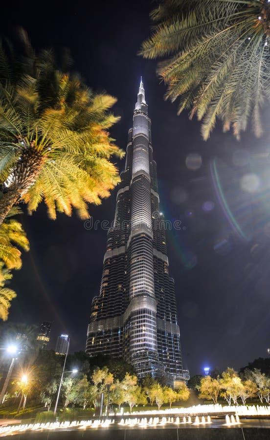 Dubai Burj Khalifa na noite foto de stock royalty free