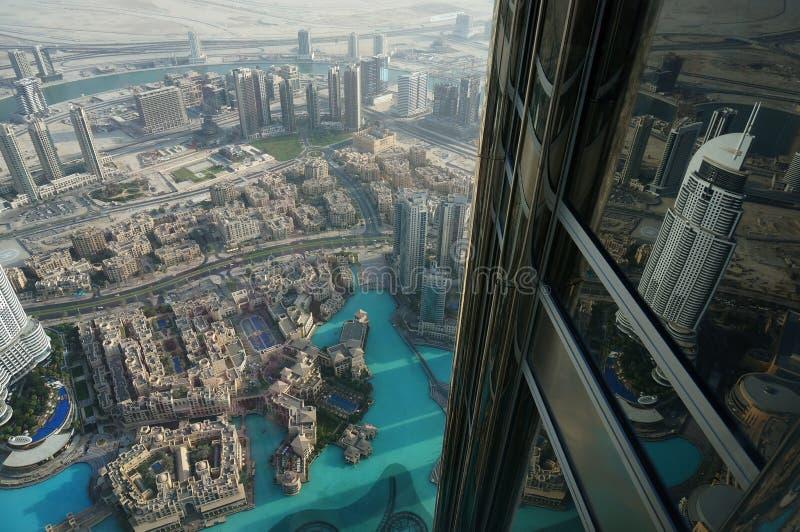 Dubai Burj Khalifa. Burj Khalifa, Dubai, Skyscraper, AtTheTop view stock photo