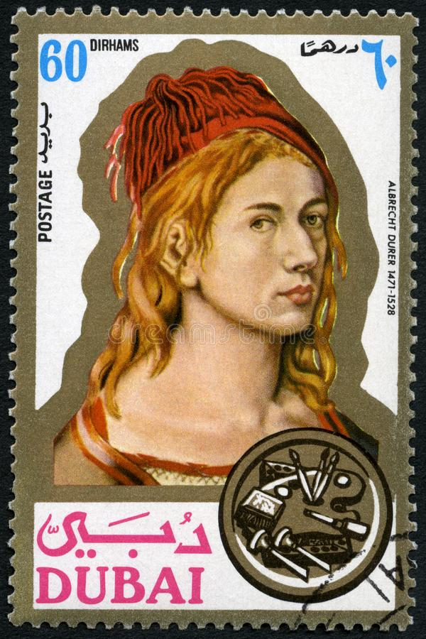 DUBAI - 1971: shows Albrecht Durer 1471-1528, painter, printmaker, portraits royalty free stock photo