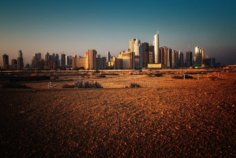 Dubai. City construction site megalopolis panorama stock photo