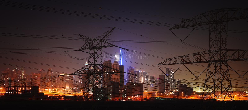 Power engineering. Dubai city construction site megalopolis panorama Power engineering royalty free stock photos