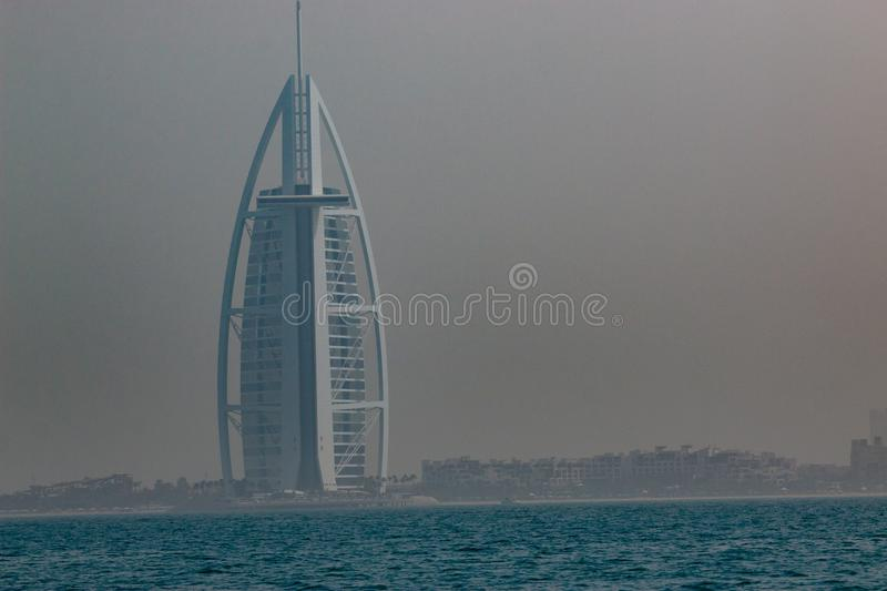 Burj Al Arab Jumeirah Dubai is a city and emirate in the United Arab Emirates known for luxury shopping royalty free stock photography