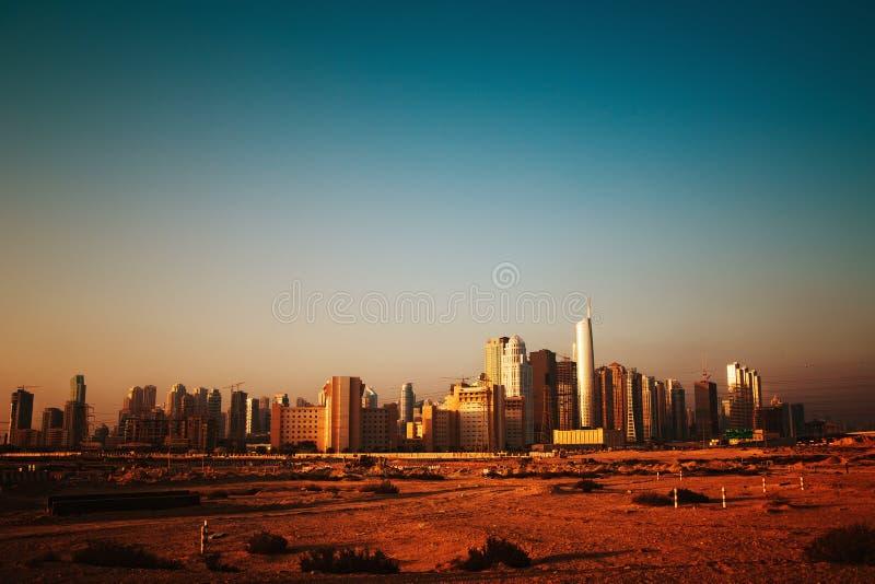 Dubai. City megalopolis panoram construction site stock images