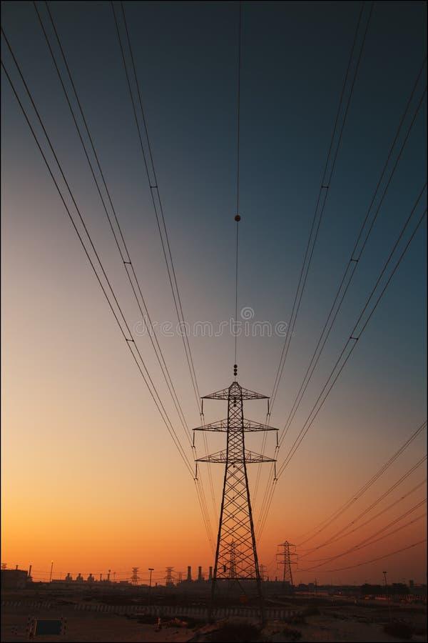 Power engineering. Dubai city megalopolis panoram power engineering royalty free stock image