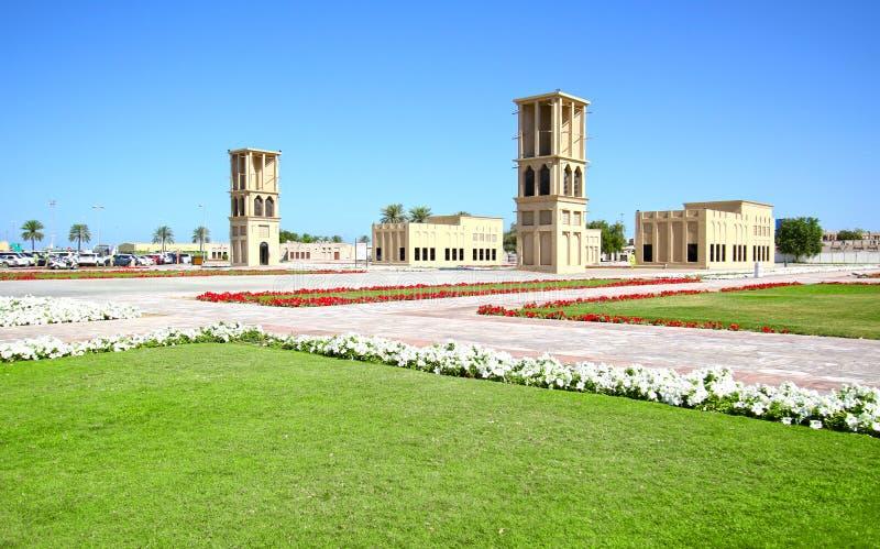 Dubai City Park. Ancraient arabic air cooling towers. Dubai, United Arab Emirates.UAE. Sunny Day stock photography