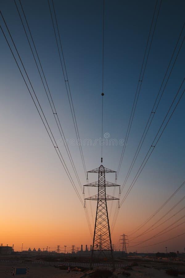 Power engineering. Dubai city power engineering megalopolis panoram construction site royalty free stock photos