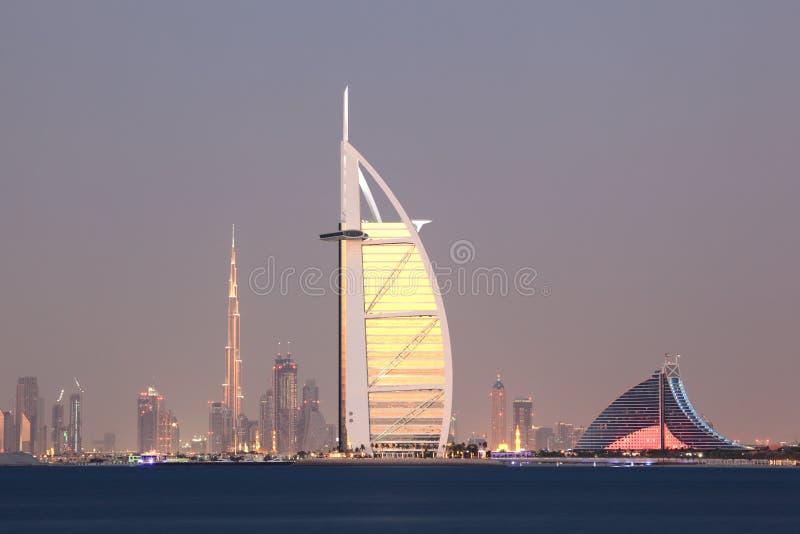 Dubai city skyline at dusk