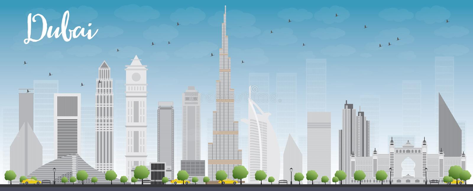 Dubai City skyline with grey skyscrapers and blue sky royalty free illustration