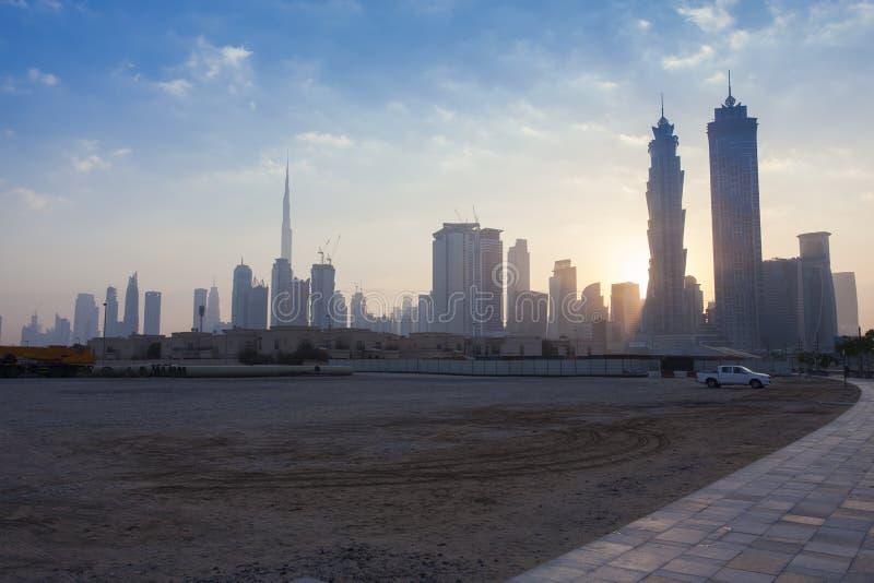 Dubai city skyline in the morning stock photo