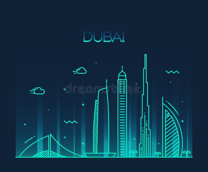 Download Dubai City Skyline Trendy Vector Line Art Stock Vector - Illustration of vacation, burj: 56869630