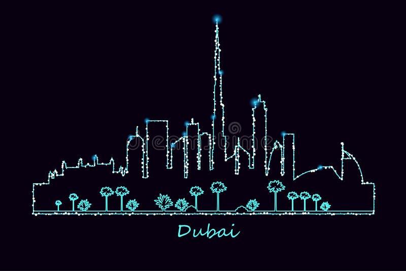 Dubai city at night royalty free illustration