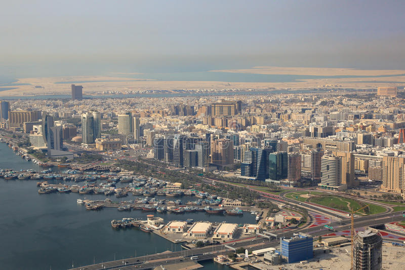 Dubai The Creek dhow dhows aerial view photography. UAE royalty free stock image
