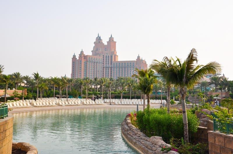 DUBAI 17 DE JUNIO: El waterpark de Aquaventure de la Atlántida el hotel de la palma el 17 de junio de 2009 en Dubai, United Arab E imagen de archivo libre de regalías