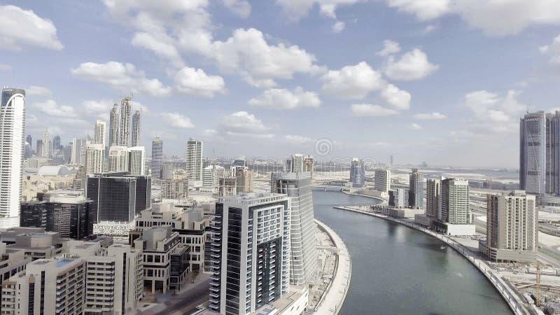 DUBAI - DECEMBER 2016: Aerial view of city skyscrapers. Dubai at royalty free stock images
