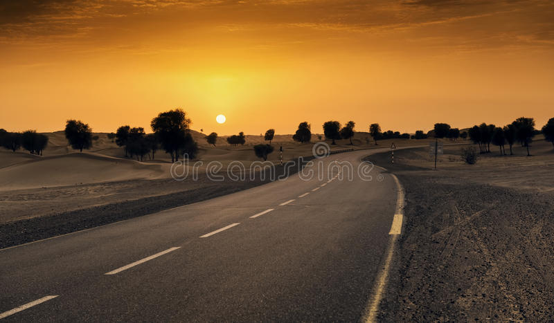 Dubai desert road royalty free stock photography