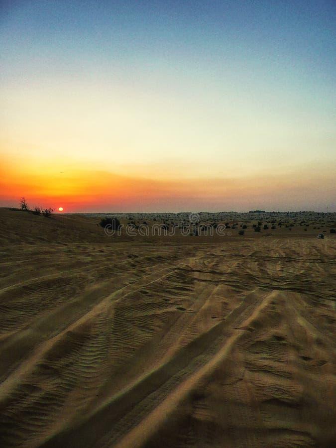 Dubai Desert Sunset royalty free stock photos