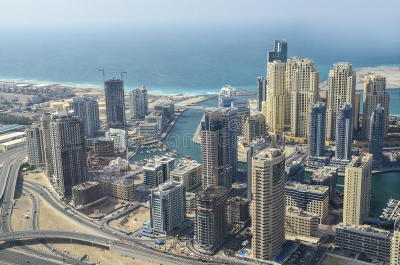 Dubai downtown morning scene. Top view from above stock photos