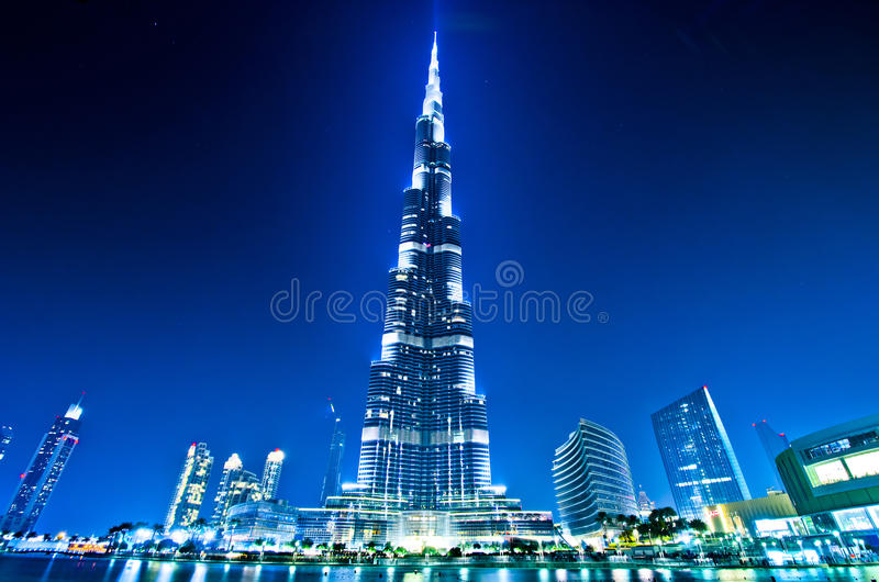 Download Dubai Downtown And Burj Khalifa At Night Stock Image - Image of exterior, blue: 34826225